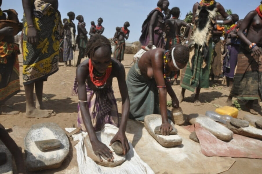 Crossing Omo river and village